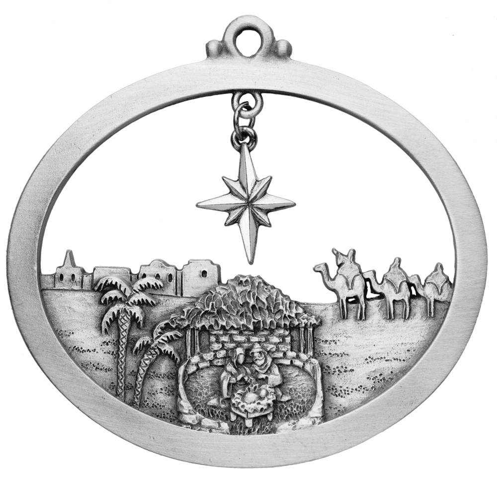 Journey to Jesus Pewter Christmas Ornament