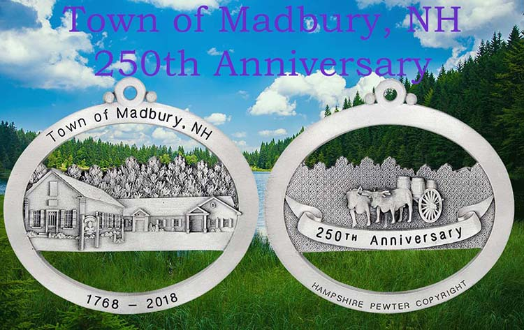 Town of Madbury, NH celebrates 250th Anniversary | Custom Pewter Ornament