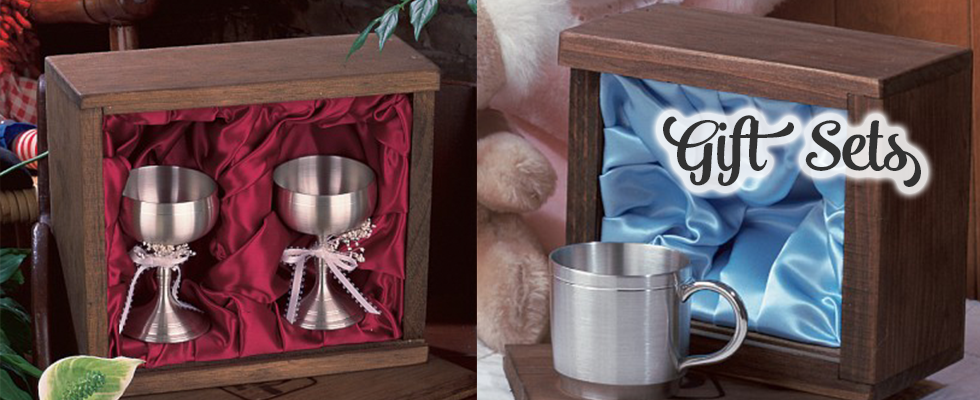 Beautiful pewter keepsakes in wooden gift box sets