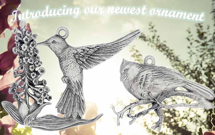 Finely Detailed Hummingbird and Cardinal Ornaments