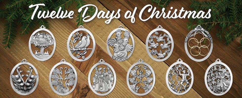 12 Days Of Christmas Ornaments Detailed Pewter Made In The Usa
