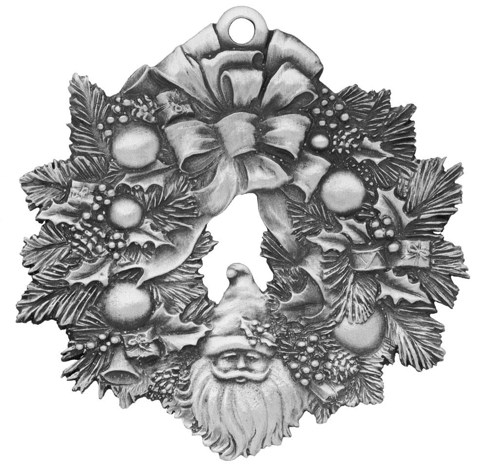 Santa Wreath | Engravable Pewter Christmas Ornament
