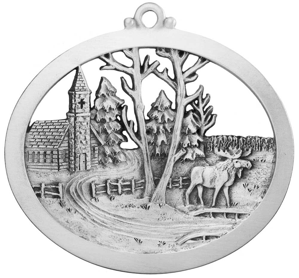 Country Church and Moose Tranquility Ornament