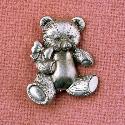 Teddy Bear Coat Pin Silver Pewter New Hampshire