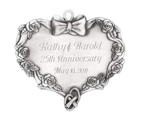 engravable heart ornament with rings handcrafted new hampshire