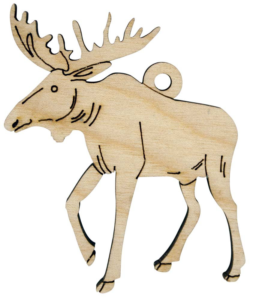 Laser Engraved Moose Christmas Tree Ornament