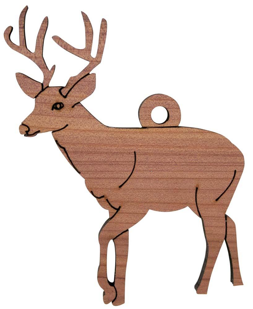 Laser Engraved Deer Christmas Tree Ornament