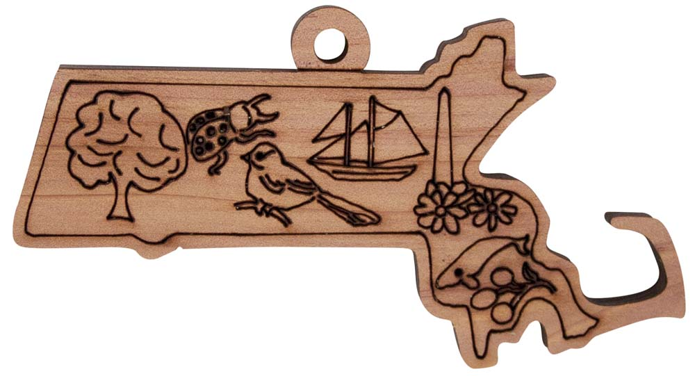 Laser Engraved Symbols of Massachusetts Cedar Christmas Tree Ornament