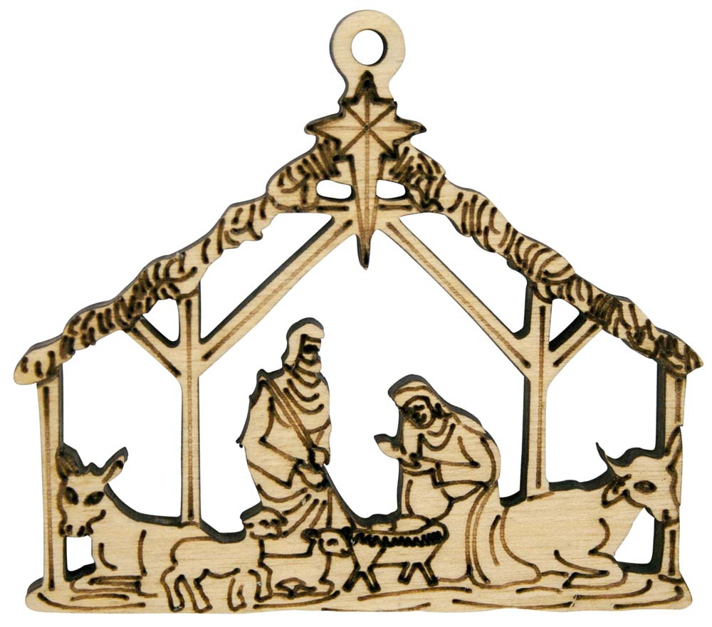 Laser Engraved Nativity Natural Birch Christmas Tree Ornament