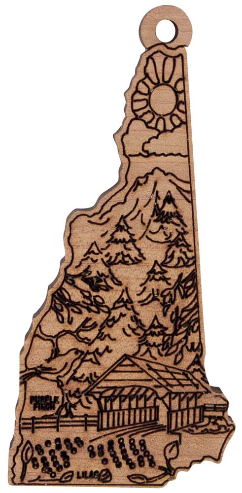 Laser Engraved Symbols of New Hampshire Cedar Christmas Tree Ornament