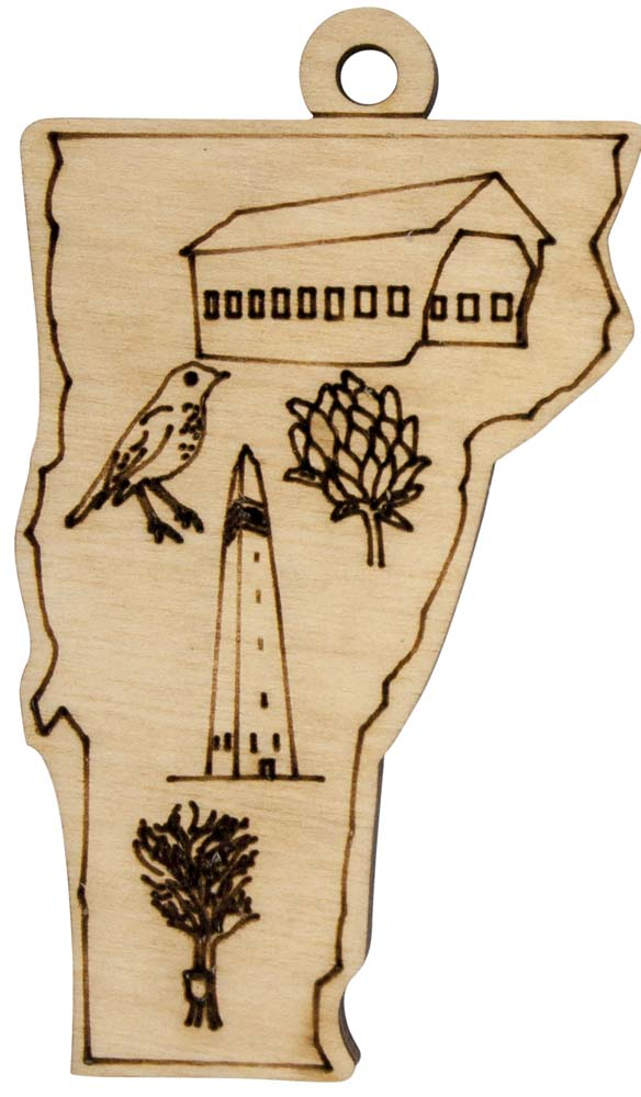 Laser Engraved Symbols of Vermont Natural Birch Christmas Tree Ornament