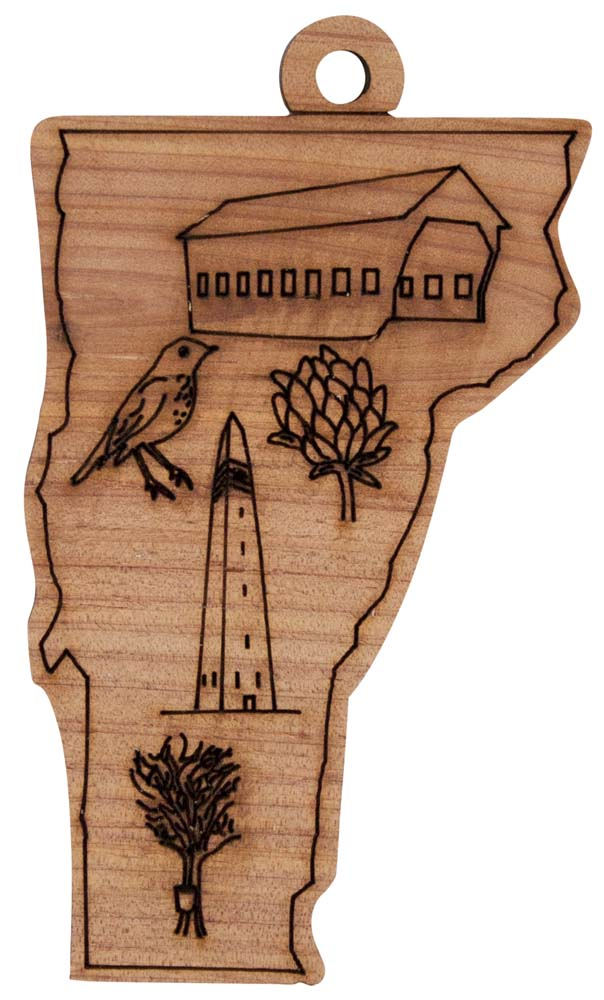 Laser Engraved Symbols of Vermont Cedar Christmas Tree Ornament