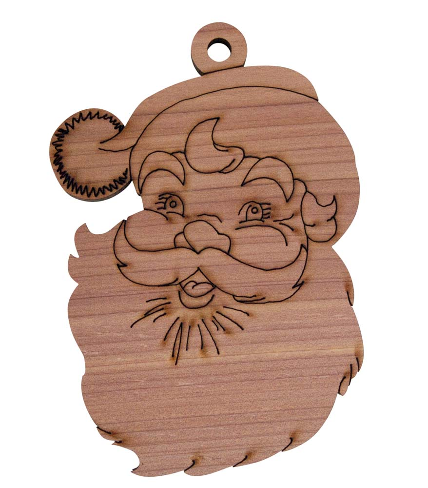 Laser Engraved Santa Cedar Christmas Tree Ornament