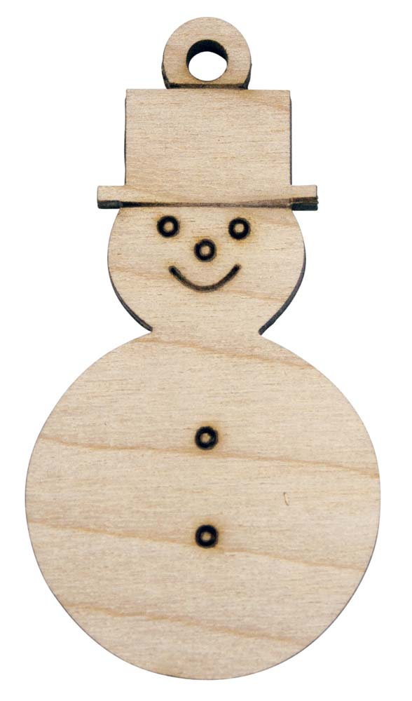 Laser Engraved Snowman Natural Birch Christmas Tree Ornament