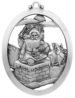 Santa Going Down Chimney Ornament