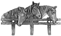 Horse Design Triple Wall Hook