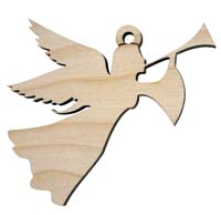 Laser Engraved Trumpeting Angel Natural Birch Christmas Tree Ornament