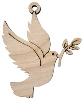 Laser Engraved Dove Natural Birch Christmas Tree Ornament