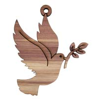 Laser Engraved Dove Cedar Christmas Tree Ornament