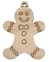 Laser Engraved Gingerbread Boy Natural Birch Christmas Tree Ornament