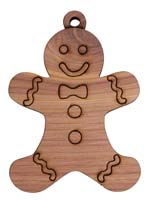 Laser Engraved Gingerbread Boy Cedar Christmas Tree Ornament