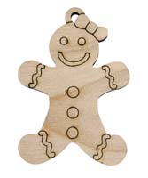 Laser Engraved Gingerbread Girl Natural Birch Christmas Tree Ornament