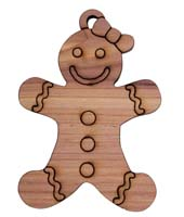 Laser Engraved Gingerbread Girl Cedar Christmas Tree Ornament