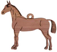 Laser Engraved Horse Cedar Christmas Tree Ornament
