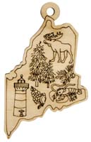 Laser Engraved Symbols of Maine Christmas Tree Ornament