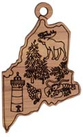 Laser Engraved Symbols of Maine Cedar Christmas Tree Ornament