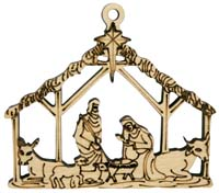 Laser Engraved Nativity Christmas Tree Ornament