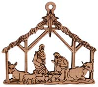 Laser Engraved Nativity Cedar Christmas Tree Ornament