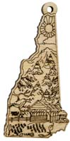 Laser Engraved Symbols of New Hampshire Natural Birch Christmas Tree Ornament