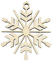 Laser Engraved Snowflake Natural Birch Christmas Tree Ornament