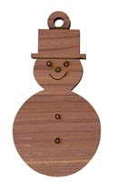 Laser Engraved Snowman Cedar Christmas Tree Ornament