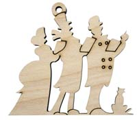 Laser Engraved Natural Birch Christmas Carolers Natural Birch Christmas Tree Ornament