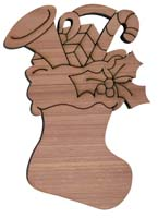 Laser Engraved Cedar Christmas Stocking with Presents Cedar Christmas Tree Ornament