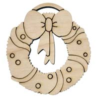 Laser Engraved Natural Birch Christmas Wreath Natural Birch Christmas Tree Ornament