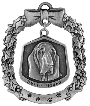 Basset hound Christmas Ornament - Front