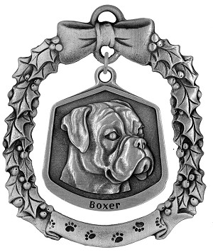 Boxer Christmas Ornament - Front