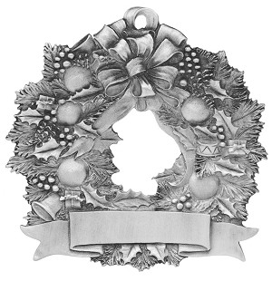 Wreath Tea Light Pewter Ornament