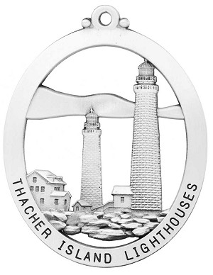 Thacher Twin Lighthouses Christmas Ornament