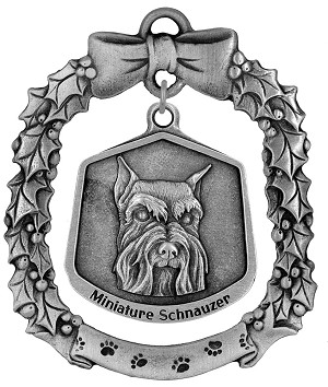 Mini schnauzer Christmas Ornament - Front