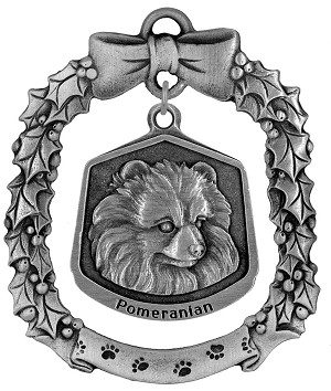 Pomeranian Christmas Ornament - Front