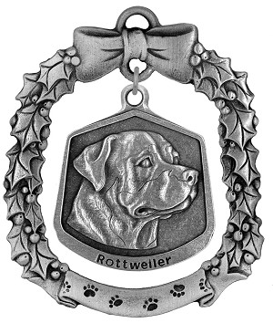 Rottweiler Christmas Ornament - Front