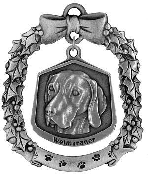 Weimaraner Christmas Ornament - Front