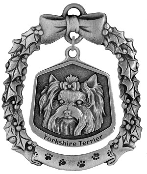 Yorkshire terrier Christmas Ornament - Front