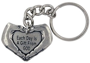 Each Day is a Gift from God with Hands Key Chain/Ring
