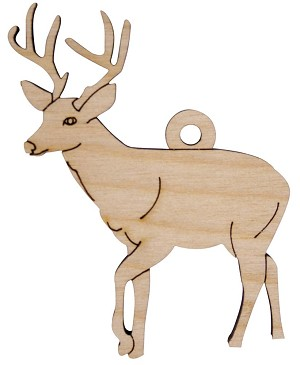 Laser Engraved Deer Christmas Tree Ornament