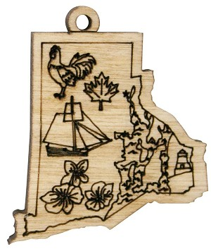 Laser Engraved Symbols of Rhode Island Christmas Tree Ornament